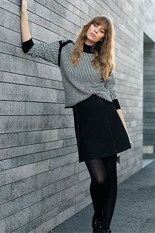 Three-Quarter Sleeve, Mock-Neck Sweater Black and White