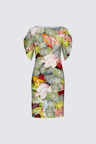 The Michelle Tulip-Sleeved Dress Sage-Green Floral Print