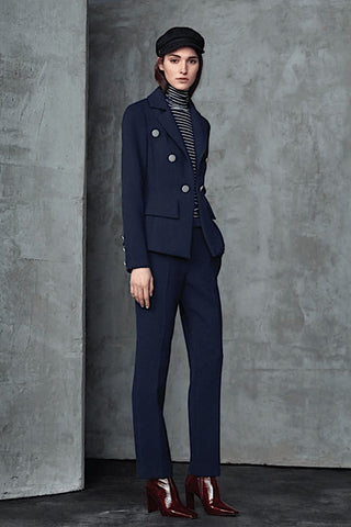 Trim-Fit, Double-Breasted Pant Suit Navy