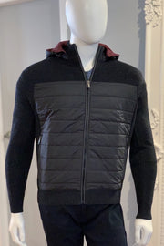 Full-Zip Sweater Jacket With Quilted Inserts Dark Grey Mélange