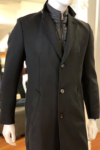 Twill Winter Coat With Storm Vest Black