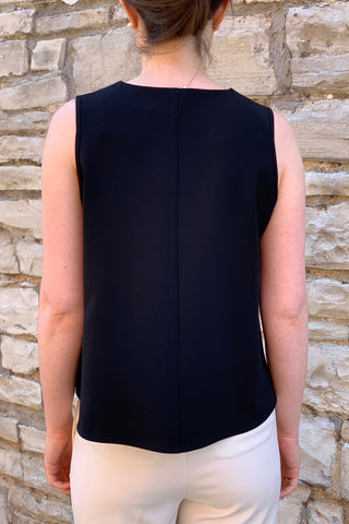 Peak-Hem, Woven Tank Top Black