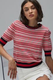 Textured-Stripe, Short-Sleeved Crew with Contrast Ribbed Trim