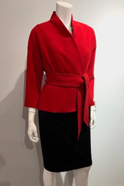 Kimono-Style, Three-Quarter-Sleeve Jacket with Belt Red