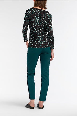 Oslo Cropped Pants With Side-Seam Piping Teal