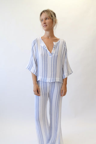Three-Quarter Sleeved Boxy Placket Top Blue Stripes