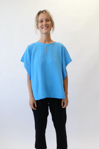 Short-Sleeved Swing Top Turquoise