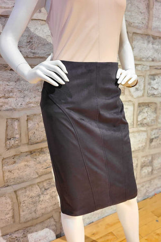 Synthetic Suede Knee-Length Skirt