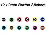 12 x 9mm Buttons stickers for Wheels