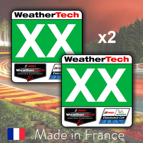 2 x Green Custom Number GTD IMSA WeatherTech Number Plates