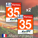 2 x 2019 Orange Custom Number LMGTE AM 24H Le Mans Number Plates