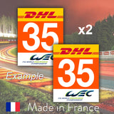 2 x 2018 Orange Custom Number LMGTE AM 24H Le Mans Number Plates