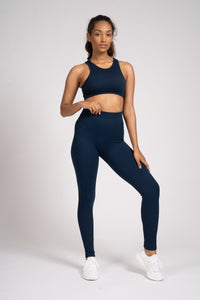 Navy Seamless Rib High Waist Leggings