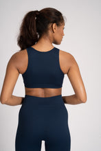 Load image into Gallery viewer, Navy Seamless Rib High Neck Top