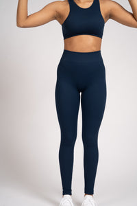 Navy Seamless Rib High Neck Top