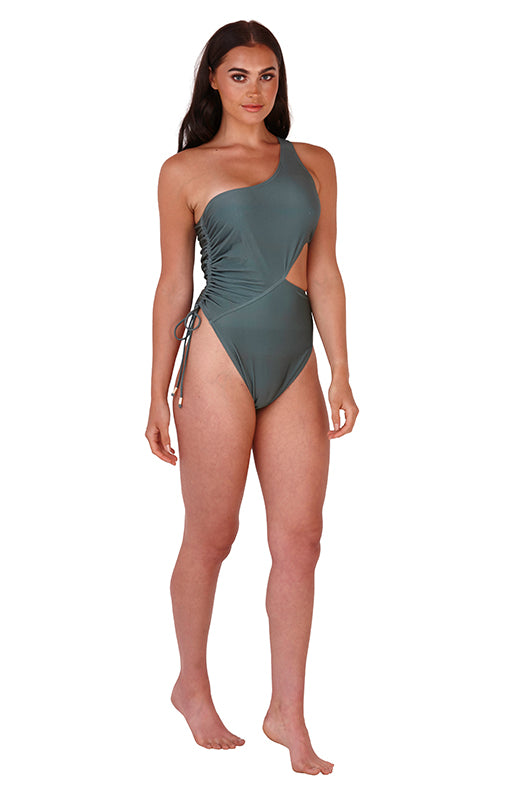 South Beach side cut out swimsuit in khaki