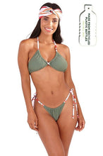 Load image into Gallery viewer, South Beach Ariana Khaki Contrast Strap Bikini Set