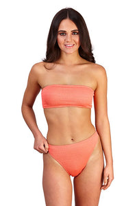 Ladies South Beach Pink Ruched Texture Bandeau Bikini.