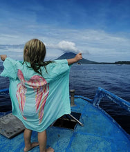 Load image into Gallery viewer, Kids Everyday Kimono - Aqua with Rainbow Pastel Wings / Kids 8-10
