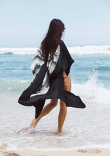 Load image into Gallery viewer, ARCHANGEL GABRIEL Angel Wing Kimono Luxe - Black, Silver Wings, 105cm