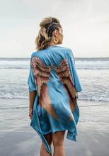 Load image into Gallery viewer, ARCHANGEL GABRIEL Angel Wing Kimono Luxe - Ice-blue with Aubergine Wings / 85cm