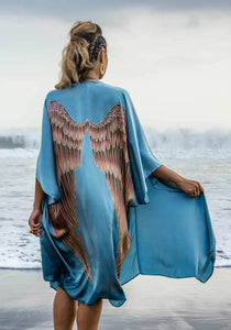 ARCHANGEL GABRIEL Angel Wing Kimono Luxe - Ice-blue with Aubergine Wings / 105cm