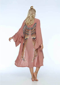 ARCHANGEL GABRIEL Angel Wing Everyday Kimono - Musk With Caramel Wings / One Size - 115 cm Length