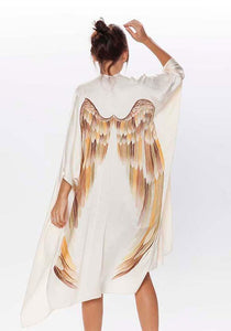 ARCHANGEL GABRIEL Angel Wing Kimono Luxe - Cream with Autumn Warrior Wings / 105cm