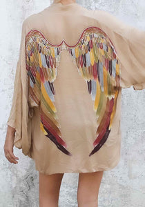 ARCHANGEL GABRIEL Angel Wing Everyday Kimono - Fawn with Autumn Warrior Wings - 75cm