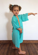 Load image into Gallery viewer, Kids Everyday Kimono - Aqua with Rainbow Pastel Wings / Kids 6-8