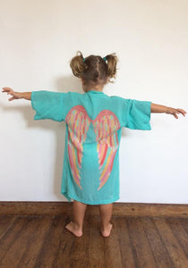 Kids Everyday Kimono - Aqua with Rainbow Pastel Wings / Kids 6-8