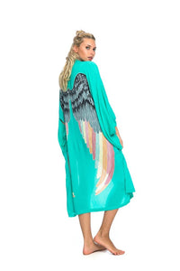 ARCHANGEL GABRIEL Angel Wing Everyday Kimono Aqua With Silver Warrior Pastel Wings Bright - 115cm Length
