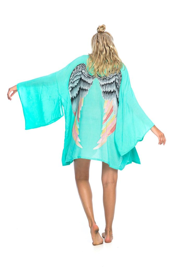 ARCHANGEL GABRIEL Angel Wing Everyday Kimono Aqua With Silver Warrior Pastel Wings Bright - 75cm Length