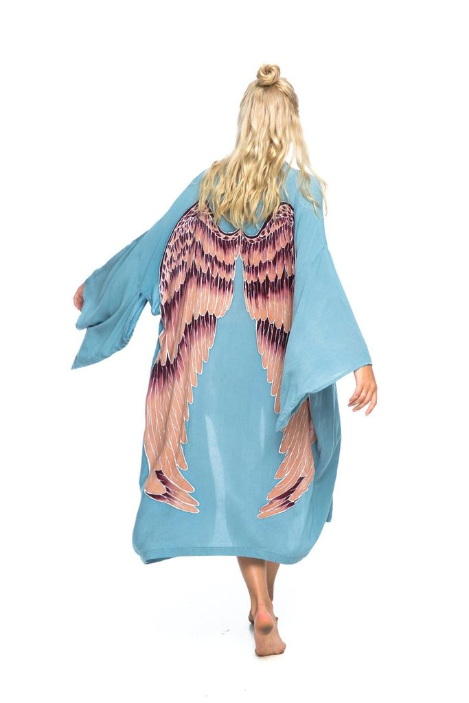 ARCHANGEL GABRIEL Angel Wing Everyday Kimono - Ice- -blue with Aubergine Wings / One Size - 115 cm Length