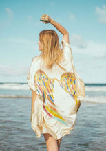 Load image into Gallery viewer, ARCHANGEL GABRIEL Angel Wing Kimono Luxe  Cream with Rainbow Warrior Wings One Size /  85cm Length