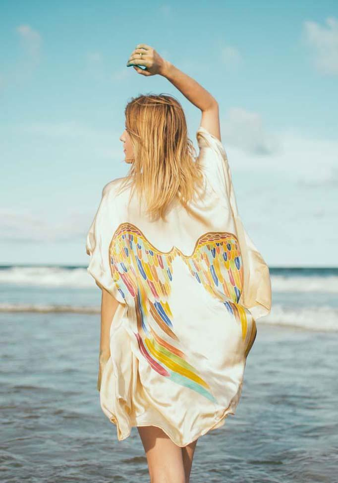 ARCHANGEL GABRIEL Angel Wing Kimono Luxe  Cream with Rainbow Warrior Wings One Size /  85cm Length