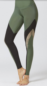 Medium Compression Leggings with Flattering Mesh Streamline Panel Khaki