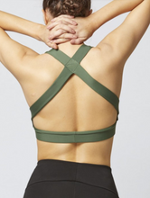 Load image into Gallery viewer, Luxe Cross Back Gym Bra Khaki