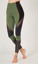 Load image into Gallery viewer, Medium Compression Leggings with Flattering Mesh Streamline Panel Khaki