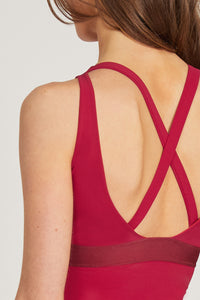 Vest Top with Mesh Front Detail and Cross Back Red XS