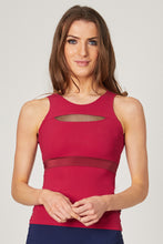 Load image into Gallery viewer, Vest Top with Mesh Front Detail and Cross Back Red XS