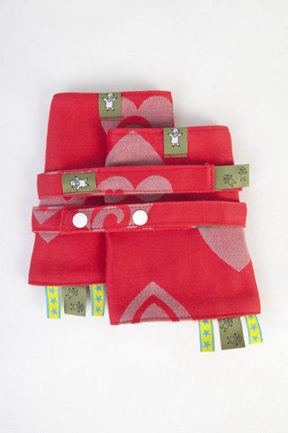 LL DROOL PADS & REACH STRAPS SET - SWEETHEART RED & GRAY - The Birth Shop