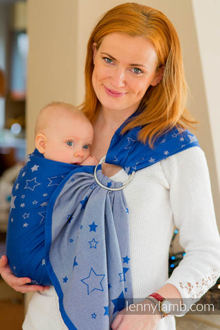 RINGSLING, JACQUARD WEAVE (100% COTTON), WITH GATHERED SHOULDER - STARS BLUE & GRAY - The Birth Shop