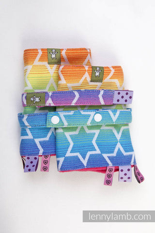 DROOL PADS & REACH STRAPS SET, (100% COTTON) - RAINBOW STARS - The Birth Shop