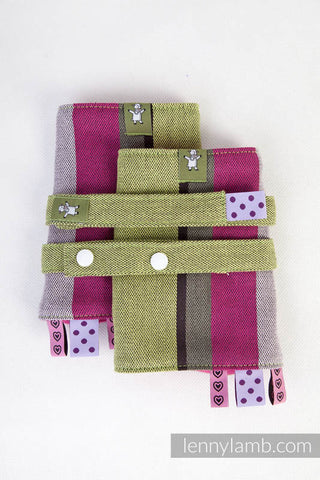 DROOL PADS & REACH STRAPS SET, (100% COTTON) - LIME & KHAKI - The Birth Shop