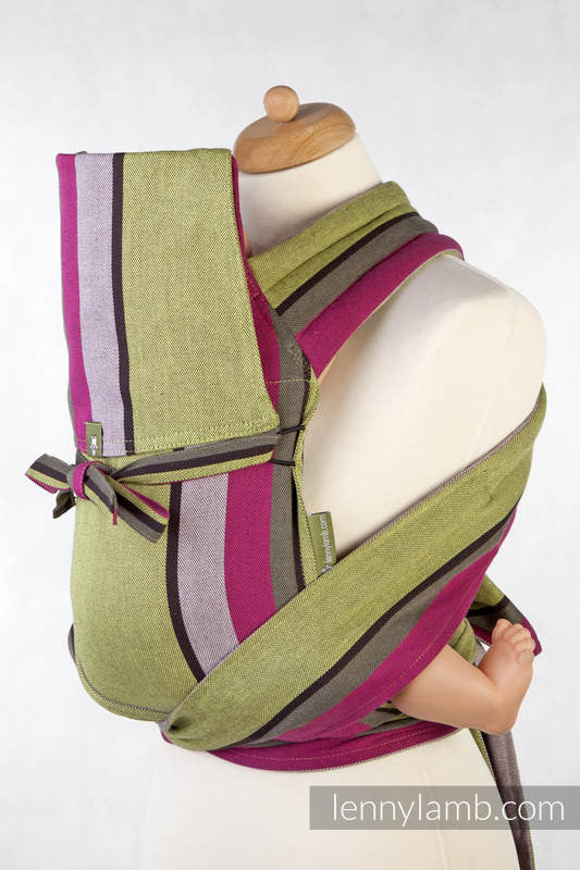 MEI-TAI CARRIER MINI, BROKEN-TWILL WEAVE - 100% COTTON - WITH HOOD, LIME & KHAKI - The Birth Shop