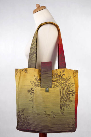 LL SHOULDER BAG (MADE OF WRAP FABRIC) - NOBLE INDIAN PEACOCK - STANDARD SIZE 37CMX37CM - The Birth Shop