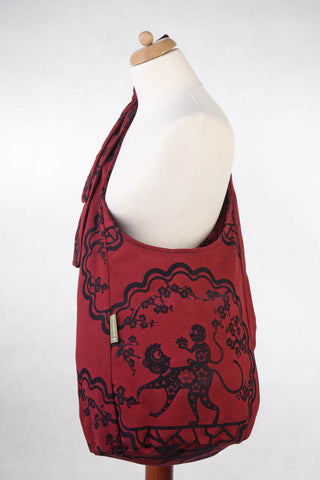 LL HOBO BAG MADE OF WOVEN FABRIC - MICO RED & BLACK