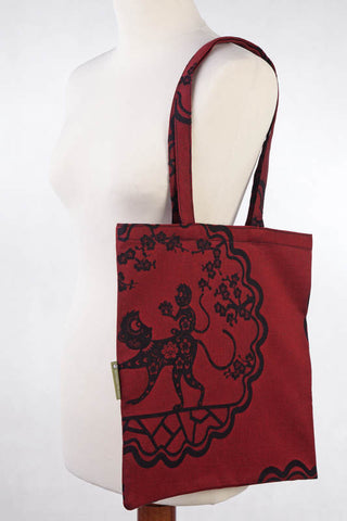 LL SHOPPING BAG (MADE OF WRAP FABRIC) - MICO RED & BLACK - STANDARD SIZE 33CMX39CM - The Birth Shop
