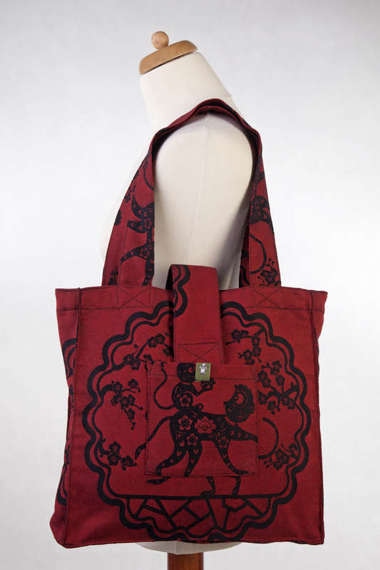 LL SHOULDER BAG (MADE OF WRAP FABRIC) - MICO RED & BLACK- STANDARD SIZE 37CMX37CM - The Birth Shop
